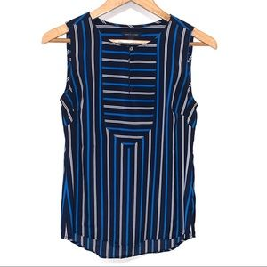Tommy Hilfiger Striped Blouse Keyhole Front Top
